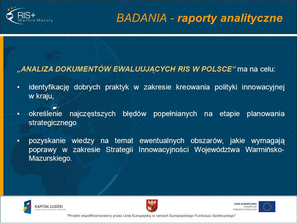 ANALIZA DOKUMENTÓW EWALUUJĄCYCH RIS W POLSCE ma na celu: identyfikację dobrych praktyk w zakresie kreowania polityki innowacyjnej w kraju, określenie