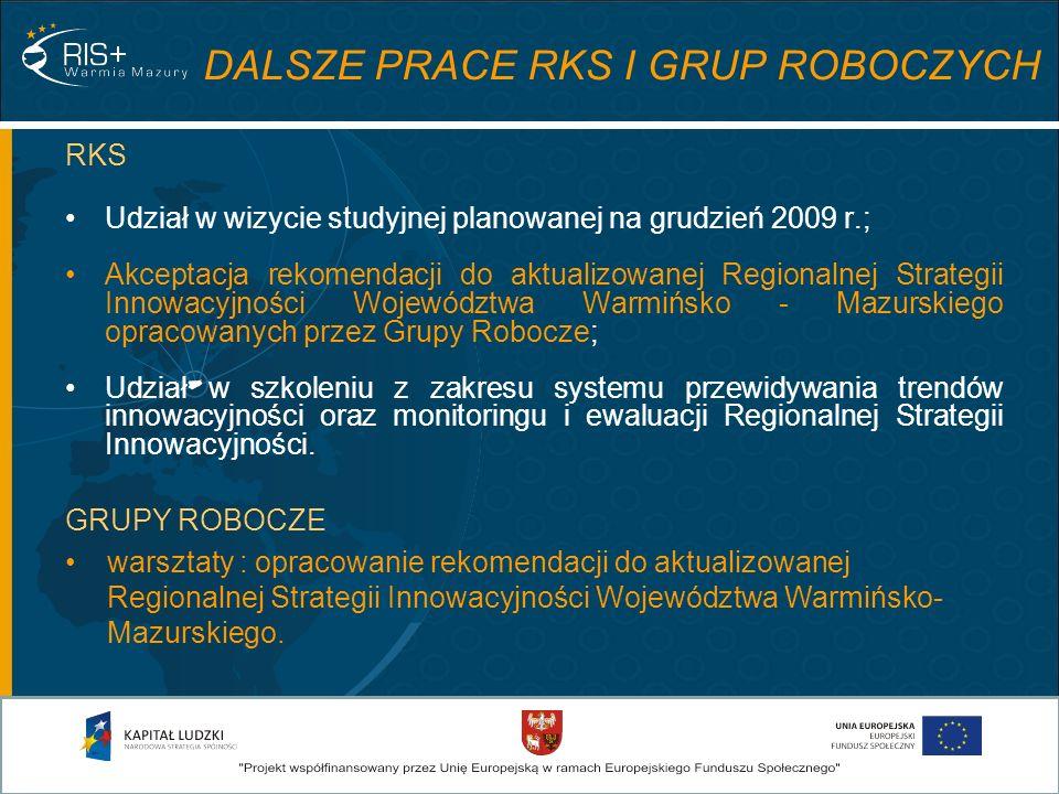 DALSZE PRACE RKS I GRUP ROBOCZYCH RKS Udział w wizycie studyjnej planowanej na grudzień 2009 r.; Akceptacja rekomendacji do aktualizowanej Regionalnej