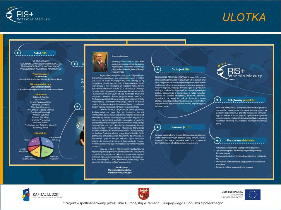 ANALIZA SYTUACJI W WOJEWÓDZTWIE WARMIŃSKO-MAZURSKIM NA PODSTAWIE DANYCH ZASTANYCH: ANALIZA WYNIKÓW BADAŃ STANU INNOWACYJNOŚCI WOJEWÓDZTWA Z LAT 2004-2008 zawiera: BADANIA - raporty analityczne Autor: dr hab.