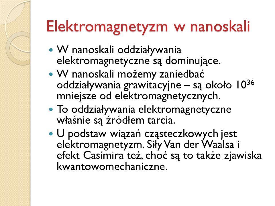 Elektromagnetyzm w nanoskali W nanoskali oddziaływania elektromagnetyczne są dominujące. W nanoskali możemy zaniedbać oddziaływania grawitacyjne – są
