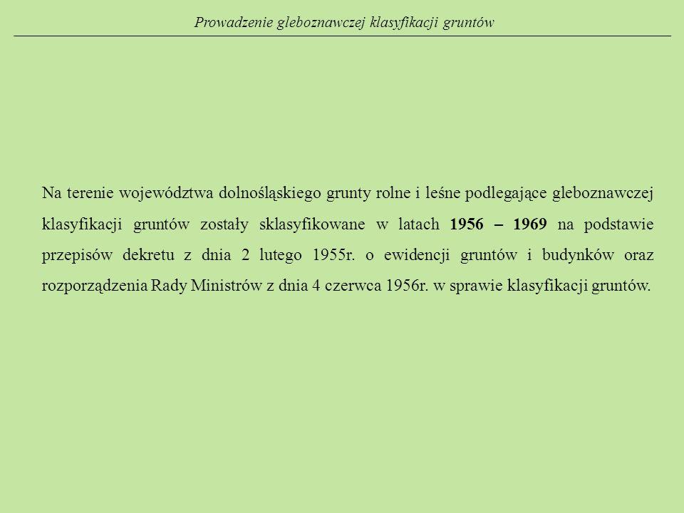 Prowadzenie gleboznawczej klasyfikacji gruntów Na terenie województwa dolnośląskiego grunty rolne i leśne podlegające gleboznawczej klasyfikacji grunt