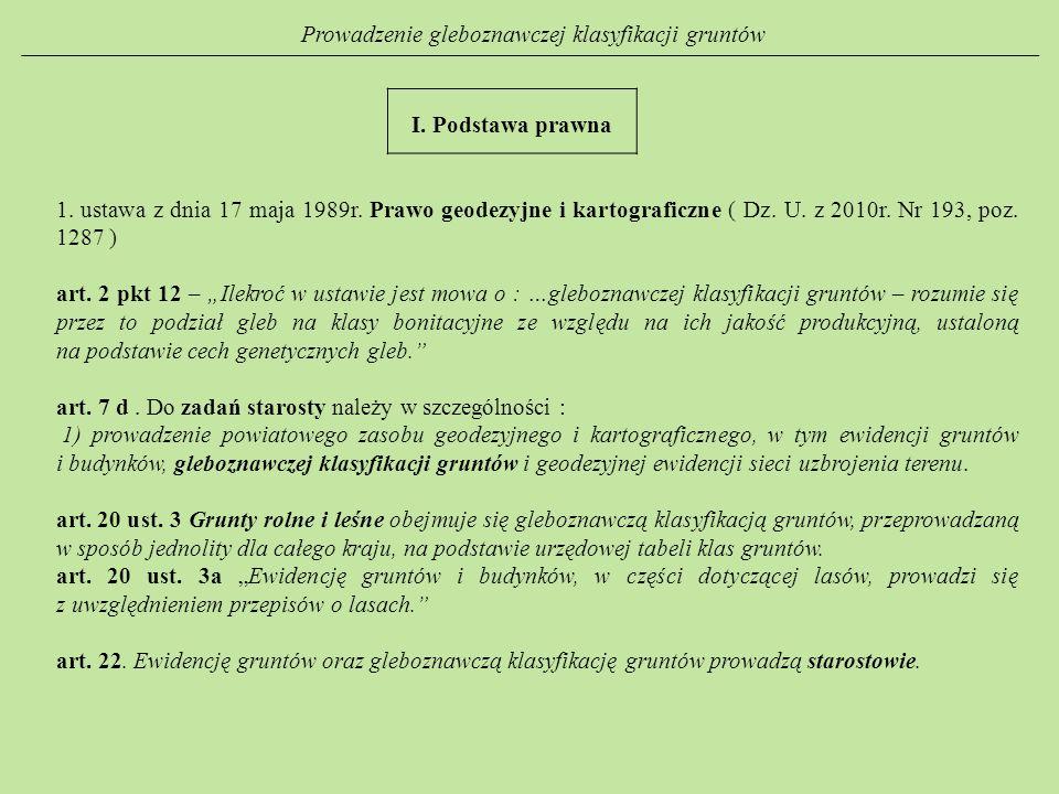 Prowadzenie gleboznawczej klasyfikacji gruntów I. Podstawa prawna 1. ustawa z dnia 17 maja 1989r. Prawo geodezyjne i kartograficzne ( Dz. U. z 2010r.