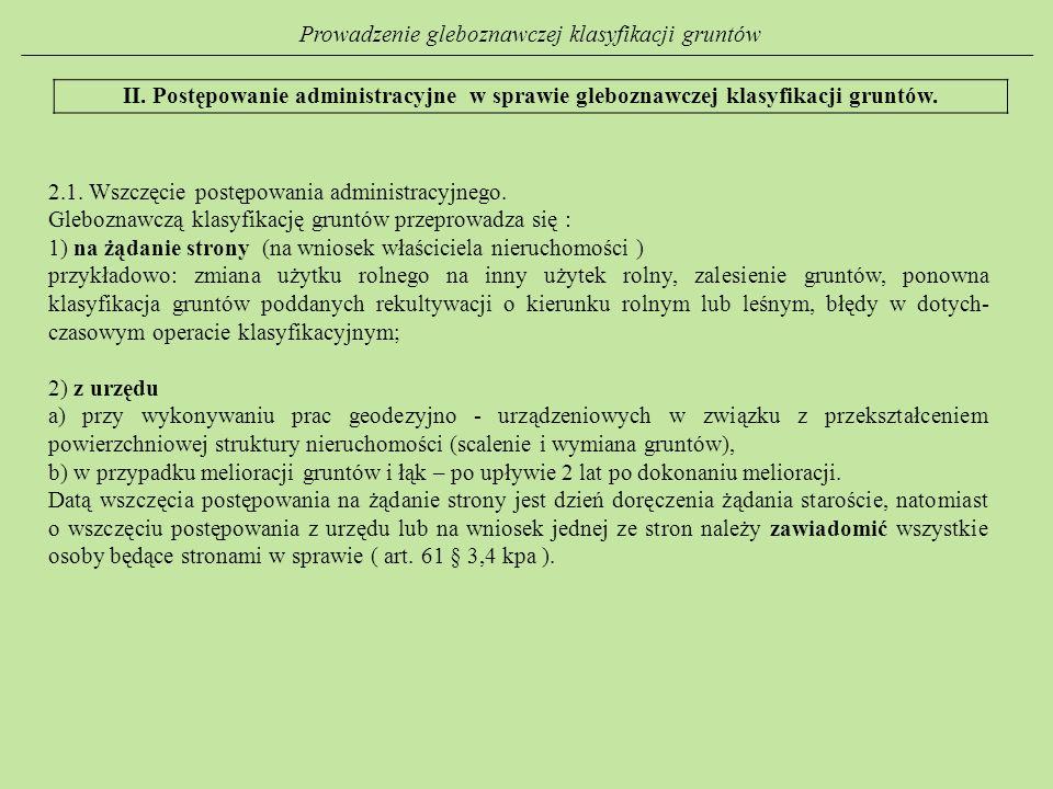 Prowadzenie gleboznawczej klasyfikacji gruntów II. Postępowanie administracyjne w sprawie gleboznawczej klasyfikacji gruntów. 2.1. Wszczęcie postępowa