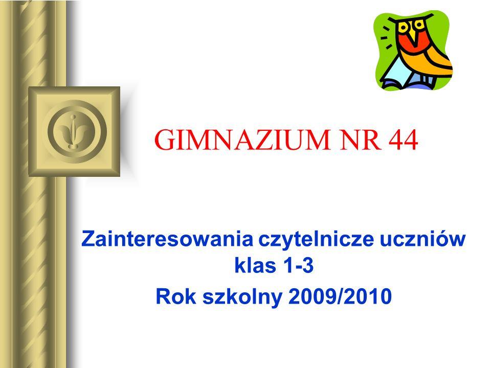GIMNAZIUM NR 44 Zainteresowania czytelnicze uczniów klas 1-3 Rok szkolny 2009/2010
