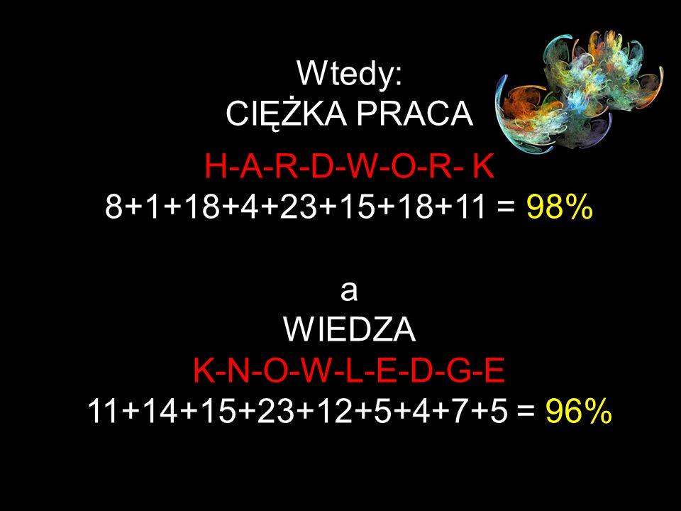Jeśli litery: A B C D E F G H I J K L M N O P Q R S T U V W X Y Z są reprezentowane przez liczby: 1 2 3 4 5 6 7 8 9 10 11 12 13 14 15 16 17 18 19 20 2