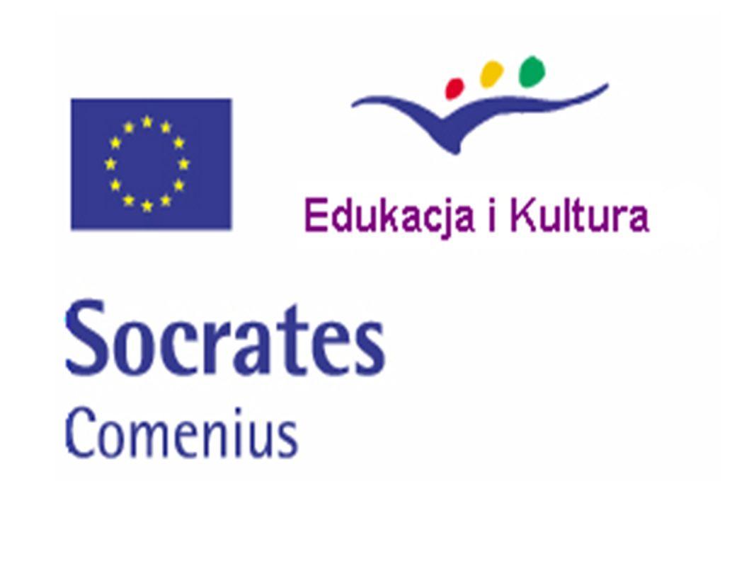 Comenius - komponent programu Socrates Wspiera inicjatywy mające na celu podniesienie jakości edukacji szkolnej i promowanie wymiaru europejskiego w procesach edukacyjnych Ma na celu wzbogacenie i uzupełnienie systemów edukacyjnych krajów uczestniczących Pomaga w kształtowaniu poczucia przynależności do szerszej, otwartej na świat społeczności europejskiej