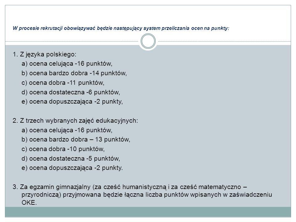 W procesie rekrutacji obowiązywać będzie następujący system przeliczania ocen na punkty: 1. Z języka polskiego: a) ocena celująca -16 punktów, b) ocen