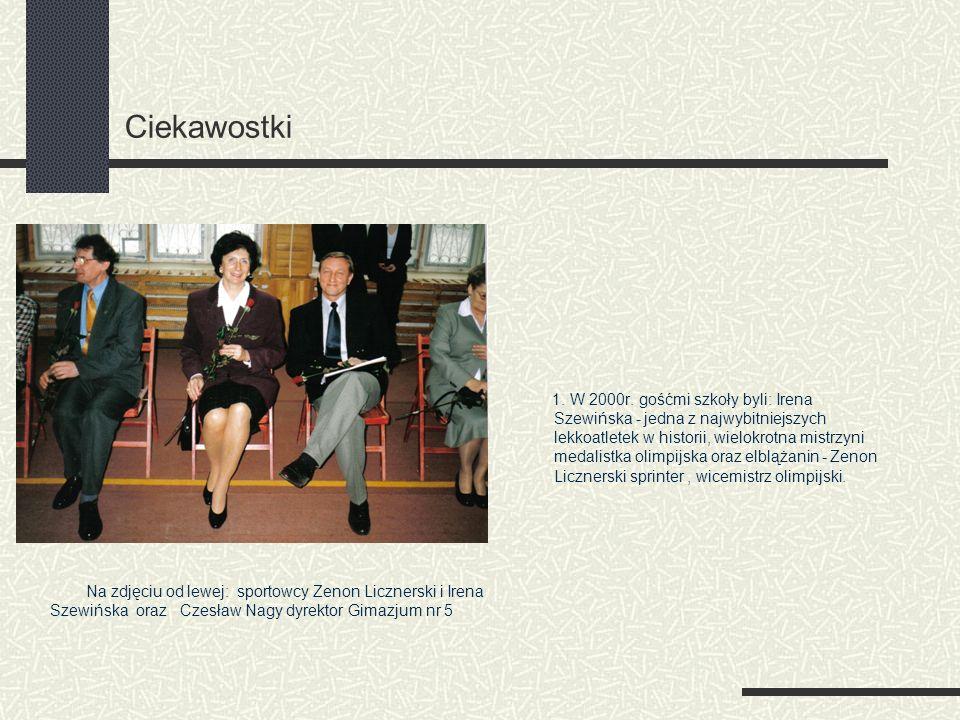 Ciekawostki 1. W 2000r. gośćmi szkoły byli: Irena Szewińska - jedna z najwybitniejszych lekkoatletek w historii, wielokrotna mistrzyni medalistka olim