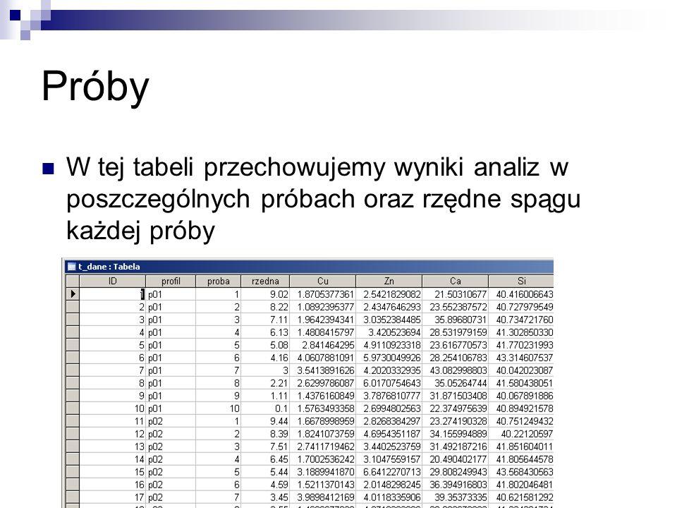 Próby W tej tabeli przechowujemy wyniki analiz w poszczególnych próbach oraz rzędne spągu każdej próby