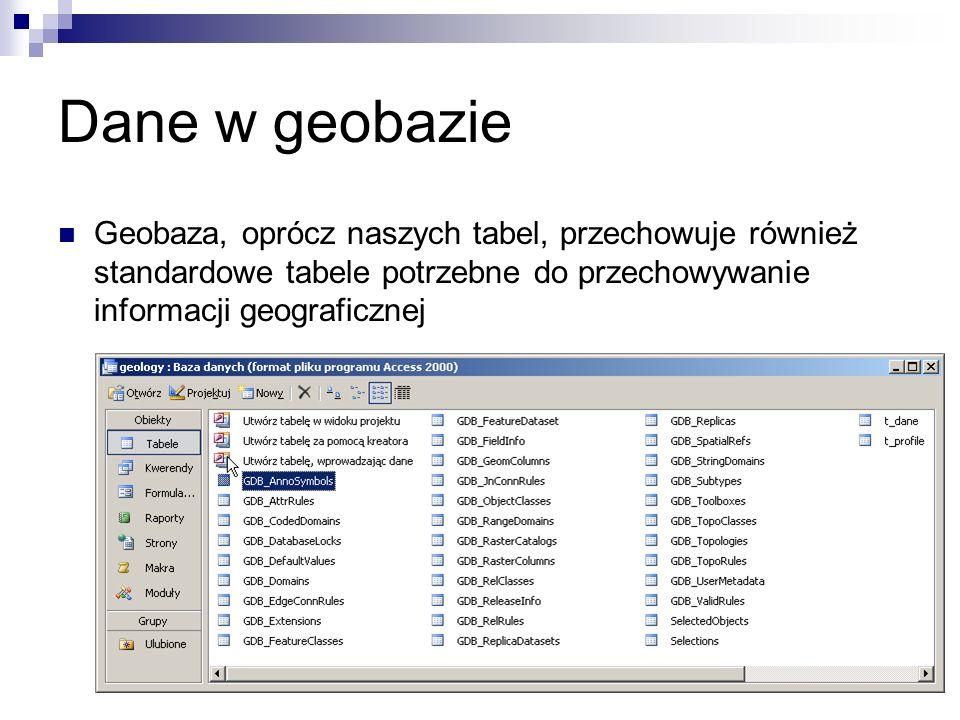 Dane w geobazie Geobaza, oprócz naszych tabel, przechowuje również standardowe tabele potrzebne do przechowywanie informacji geograficznej