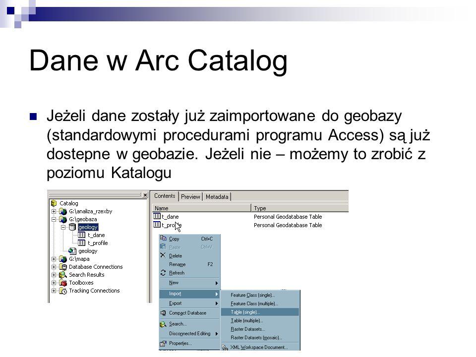 Dane w Arc Catalog Jeżeli dane zostały już zaimportowane do geobazy (standardowymi procedurami programu Access) są już dostepne w geobazie. Jeżeli nie