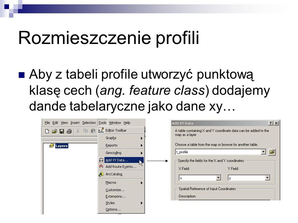 Rozmieszczenie profili Aby z tabeli profile utworzyć punktową klasę cech (ang. feature class) dodajemy dande tabelaryczne jako dane xy…