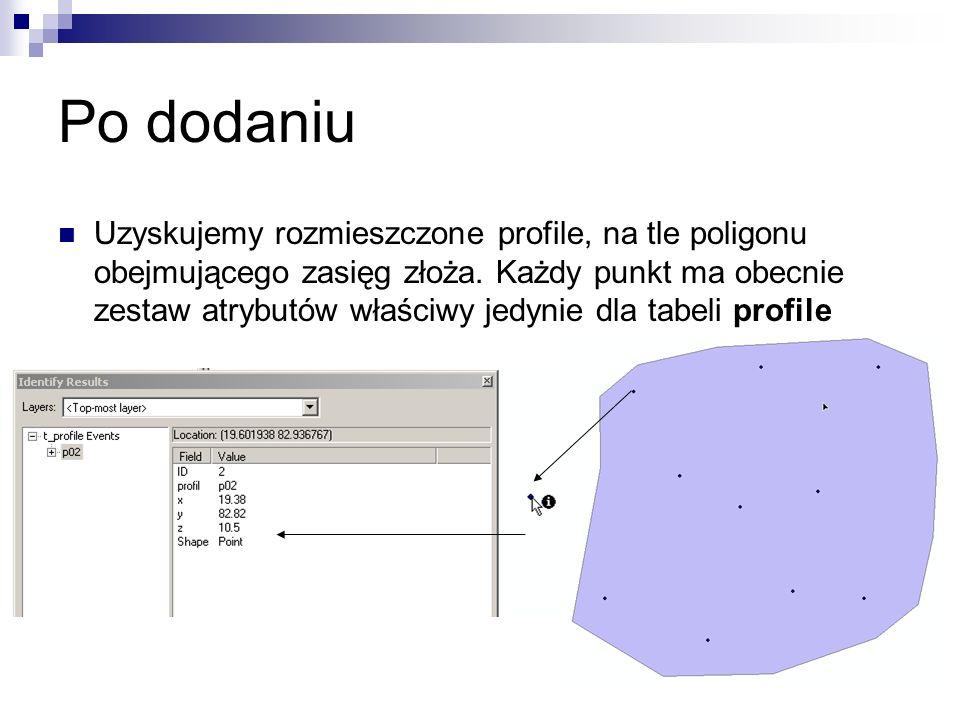 Po dodaniu Uzyskujemy rozmieszczone profile, na tle poligonu obejmującego zasięg złoża. Każdy punkt ma obecnie zestaw atrybutów właściwy jedynie dla t