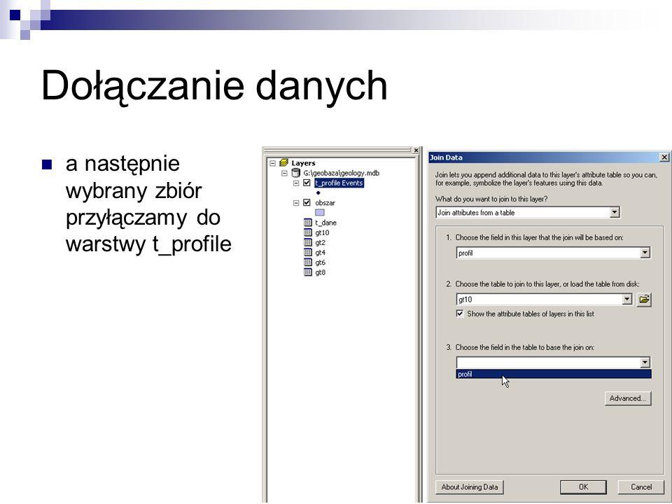Dołączanie danych a następnie wybrany zbiór przyłączamy do warstwy t_profile