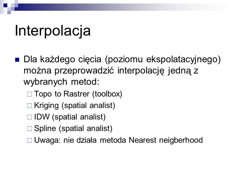 Interpolacja Dla każdego cięcia (poziomu ekspolatacyjnego) można przeprowadzić interpolację jedną z wybranych metod: Topo to Rastrer (toolbox) Kriging
