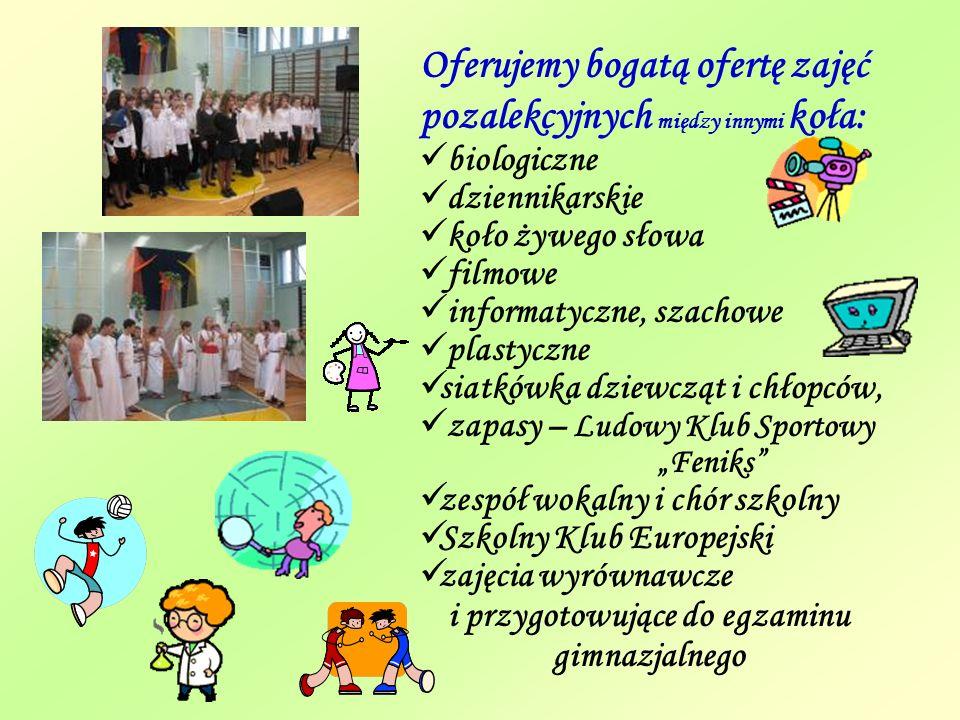 Organizujemy wiele imprez szkolnych i konkursów Konkurs Świąteczny Dni Kultury Europejskiej Walentynki 2008 Samorząd Uczniowski Dzień Otwarty Szkoły Niezwykły klimat Jasełek