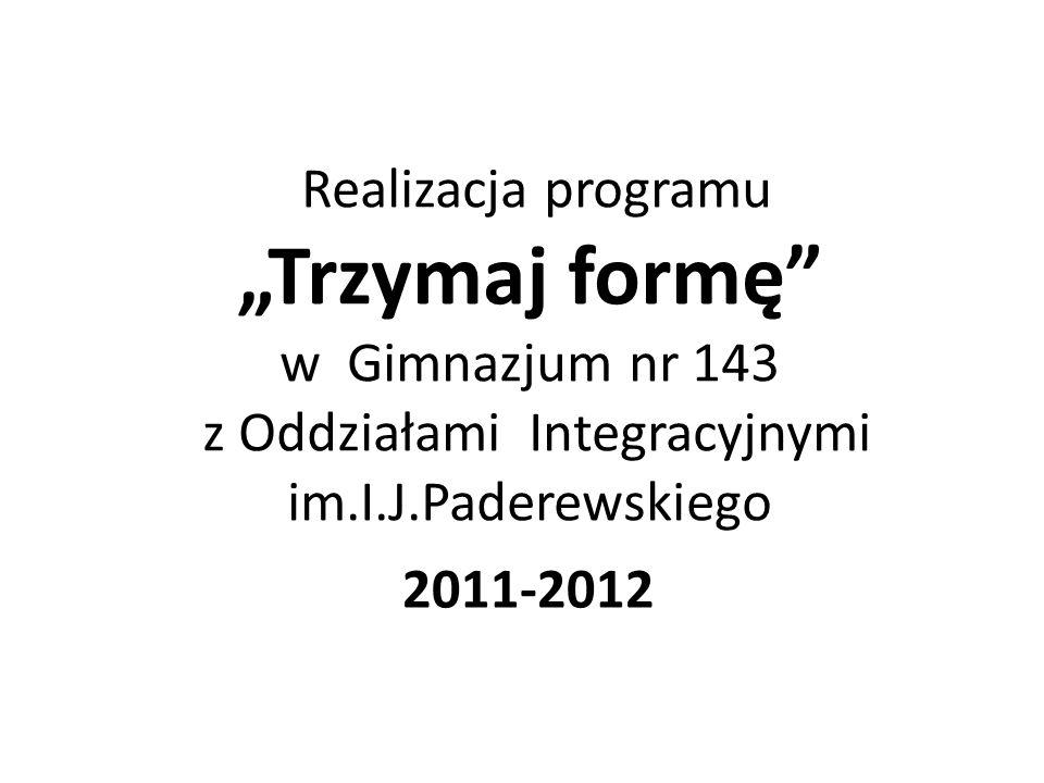 Realizacja programu Trzymaj formę w Gimnazjum nr 143 z Oddziałami Integracyjnymi im.I.J.Paderewskiego 2011-2012