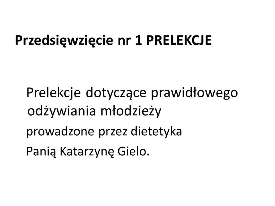 Prelekcje dotyczące prawidłowego odżywiania młodzieży prowadzone przez dietetyka Panią Katarzynę Gielo.