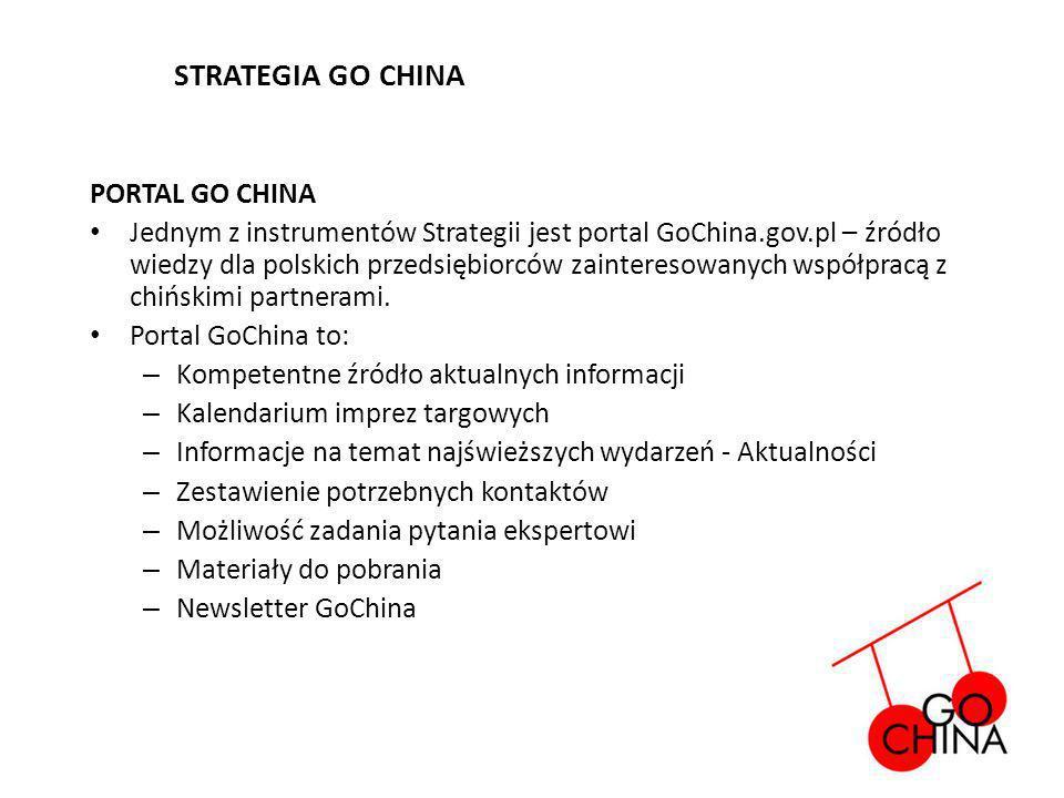 PORTAL GO CHINA Jednym z instrumentów Strategii jest portal GoChina.gov.pl – źródło wiedzy dla polskich przedsiębiorców zainteresowanych współpracą z