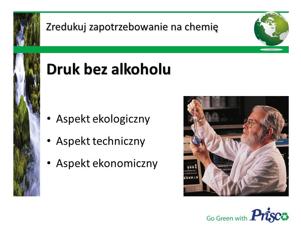 Aspekt ekologiczny Aspekt techniczny Aspekt ekonomiczny Zredukuj zapotrzebowanie na chemię Zredukuj zapotrzebowanie na chemię Druk bez alkoholu Druk b