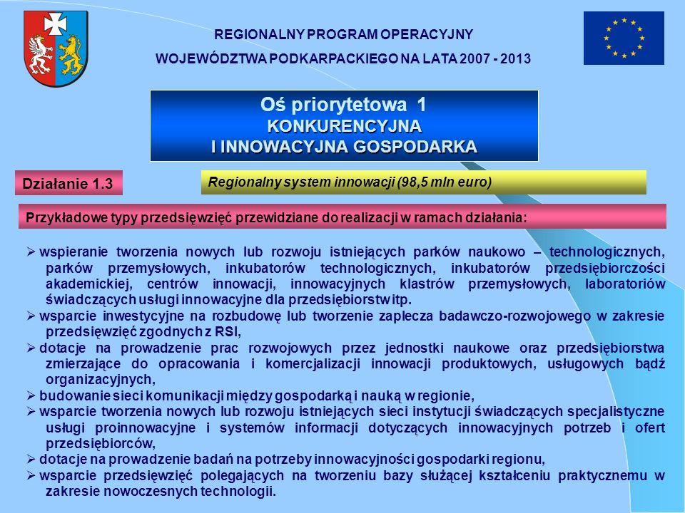 REGIONALNY PROGRAM OPERACYJNY WOJEWÓDZTWA PODKARPACKIEGO NA LATA 2007 - 2013 Oś priorytetowa 1 KONKURENCYJNA I INNOWACYJNA GOSPODARKA wspieranie tworz