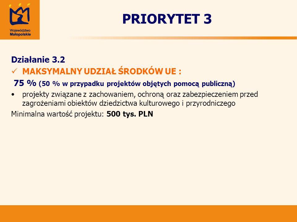 PRIORYTET 3 Działanie 3.2 MAKSYMALNY UDZIAŁ ŚRODKÓW UE : 75 % (50 % w przypadku projektów objętych pomocą publiczną) projekty związane z zachowaniem,