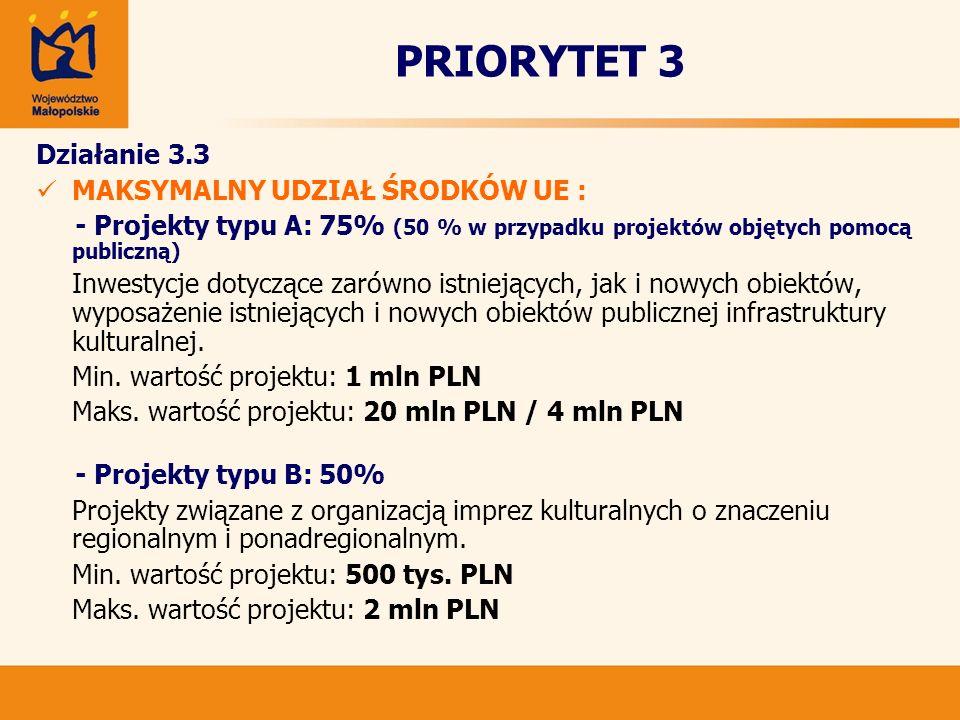 PRIORYTET 3 Działanie 3.3 MAKSYMALNY UDZIAŁ ŚRODKÓW UE : - Projekty typu A: 75% (50 % w przypadku projektów objętych pomocą publiczną) Inwestycje doty