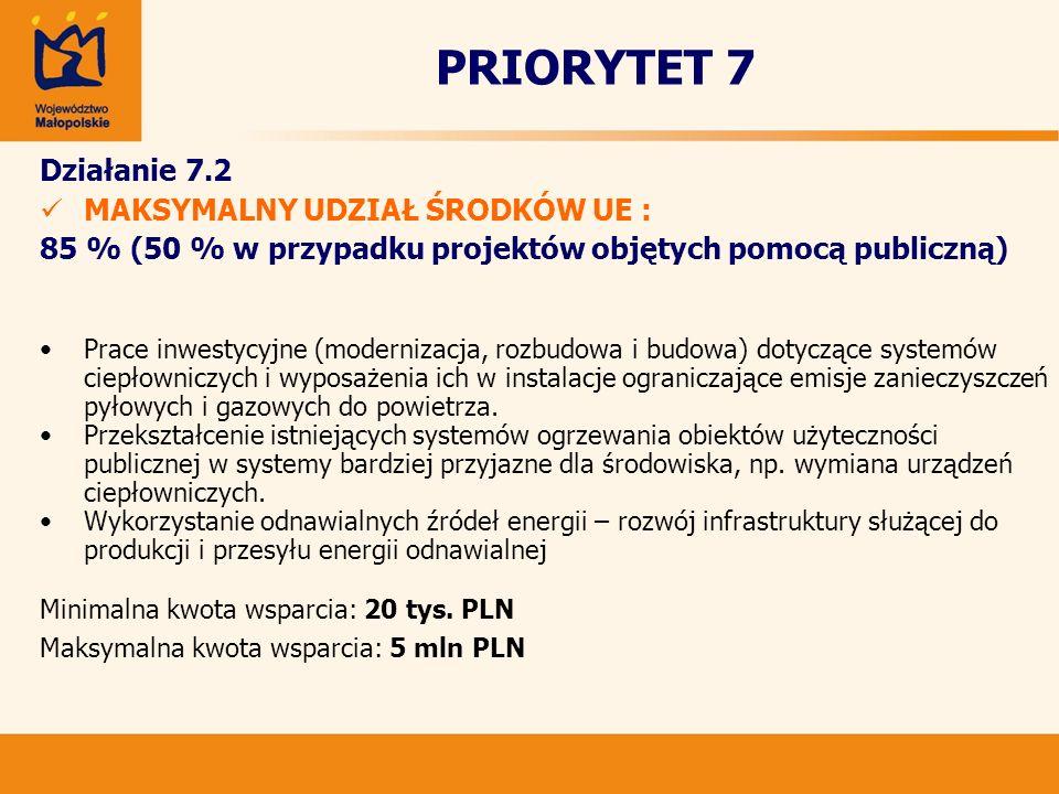 PRIORYTET 7 Działanie 7.2 MAKSYMALNY UDZIAŁ ŚRODKÓW UE : 85 % (50 % w przypadku projektów objętych pomocą publiczną) Prace inwestycyjne (modernizacja,