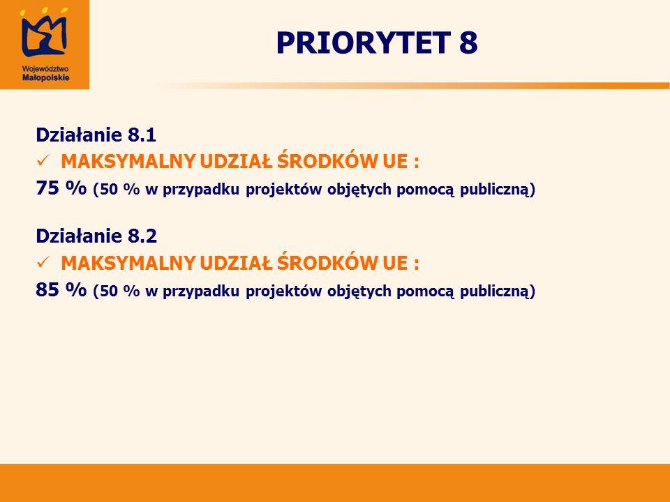 PRIORYTET 8 Działanie 8.1 MAKSYMALNY UDZIAŁ ŚRODKÓW UE : 75 % (50 % w przypadku projektów objętych pomocą publiczną) Działanie 8.2 MAKSYMALNY UDZIAŁ Ś