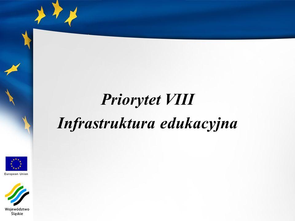 Priorytet VIII Infrastruktura edukacyjna
