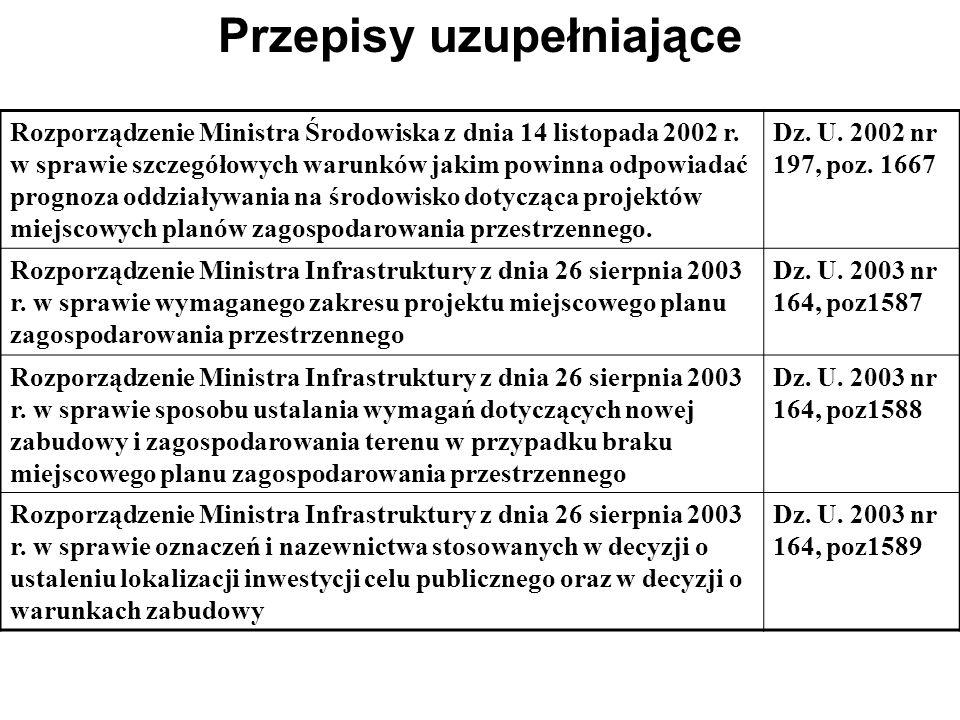 Ustawa z 27 marca 2003 r o planowaniu i zagospodarowaniu przestrzennym Dz.U. Nr 80 poz. 717 Uregulowania prawne