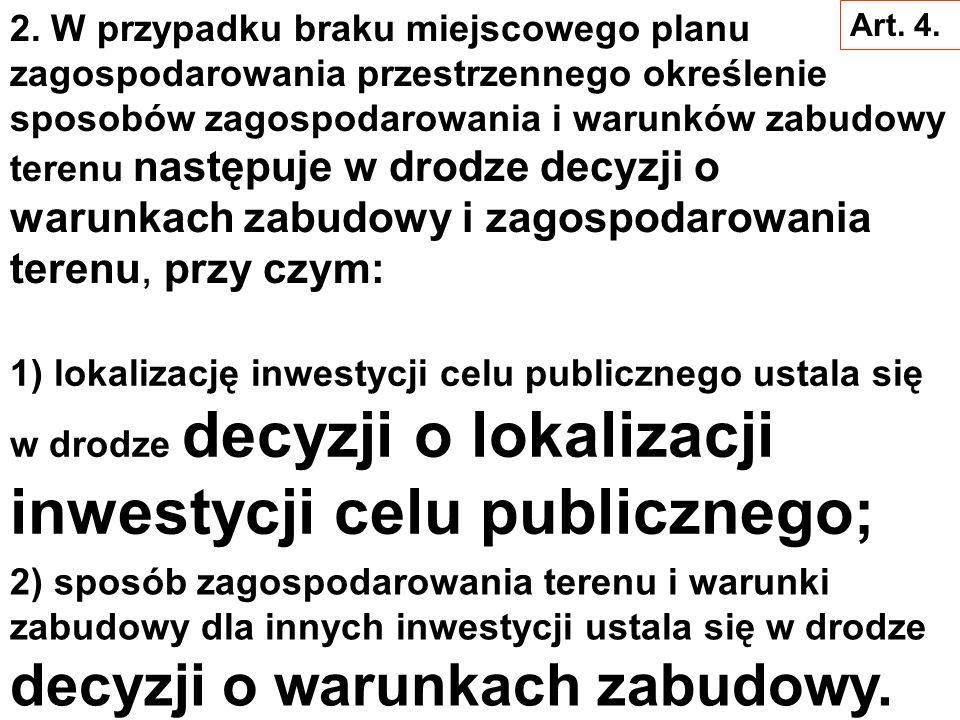 W miejscowym planie zagospodarowania przestrzennego następuje: Art. 4. 1. ustalenie przeznaczenia terenu, rozmieszczenie inwestycji celu publicznego o