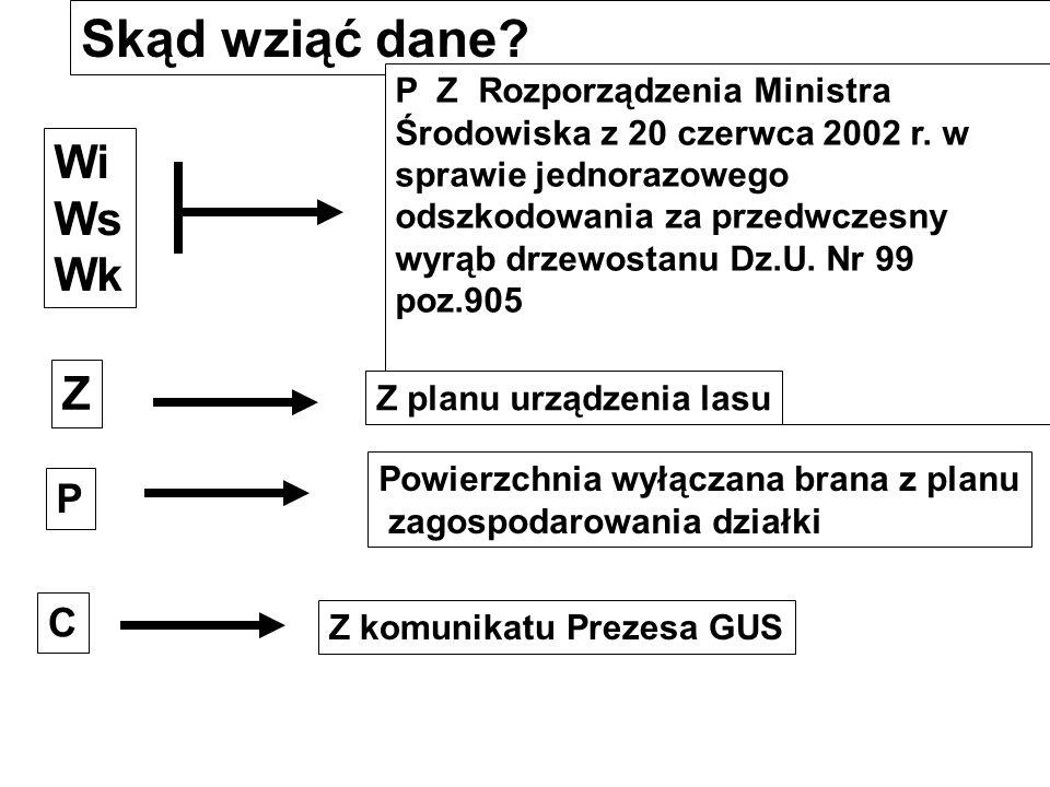 Oznaczenie symboli Z P C Współczynnik zadrzewienia Powierzchnia obszaru wyłączanego w hektarach Cena m 3 drewna podana przez Prezesa GUS