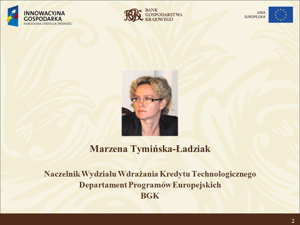 Kredyt technologiczny – premia dla nowych technologii 3 Cel Programu Operacyjnego Innowacyjna Gospodarka: Rozwój polskiej gospodarki w oparciu o innowacyjne przedsiębiorstwa Cel IV osi priorytetowej Inwestycje w innowacyjne przedsięwzięcia: Podniesienie poziomu innowacyjności przedsiębiorstw poprzez stymulowanie implementacji nowoczesnych rozwiązań Cel działania 4.3 Kredyt technologiczny: Wsparcie inwestycji w zakresie wdrożenia nowych technologii poprzez udzielanie kredytu technologicznego z możliwością częściowej spłaty ze środków FKT w formie premii technologicznej.