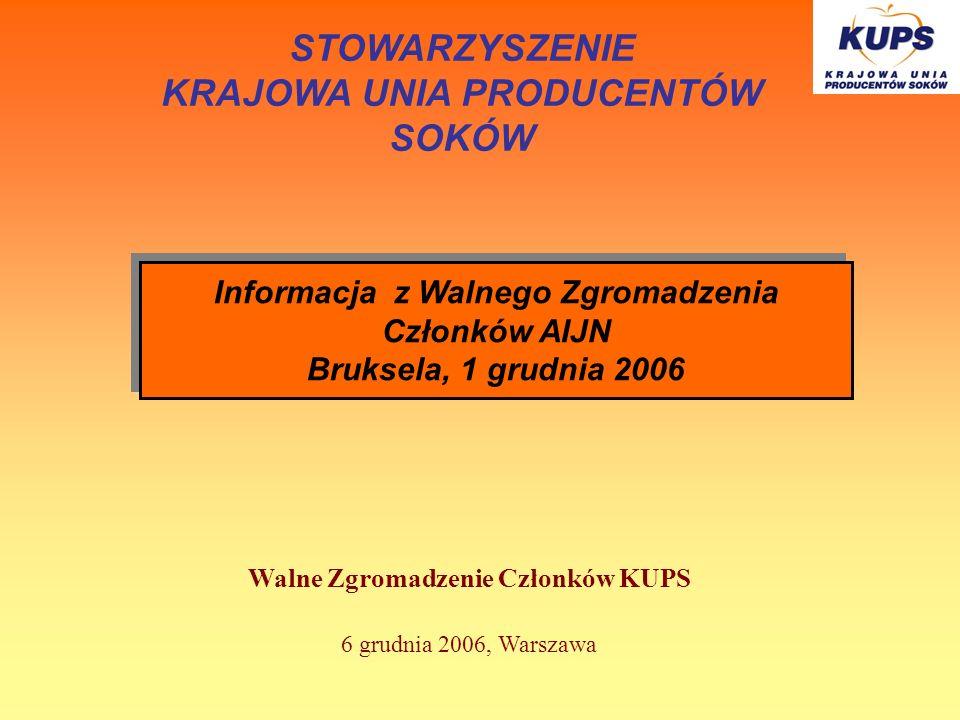 Walne Zgromadzenie Członków KUPS 6 grudnia 2006, Warszawa STOWARZYSZENIE KRAJOWA UNIA PRODUCENTÓW SOKÓW Informacja z Walnego Zgromadzenia Członków AIJ