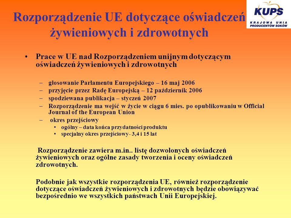 Rozporządzenie UE dotyczące oświadczeń żywieniowych i zdrowotnych Prace w UE nad Rozporządzeniem unijnym dotyczącym oświadczeń żywieniowych i zdrowotn