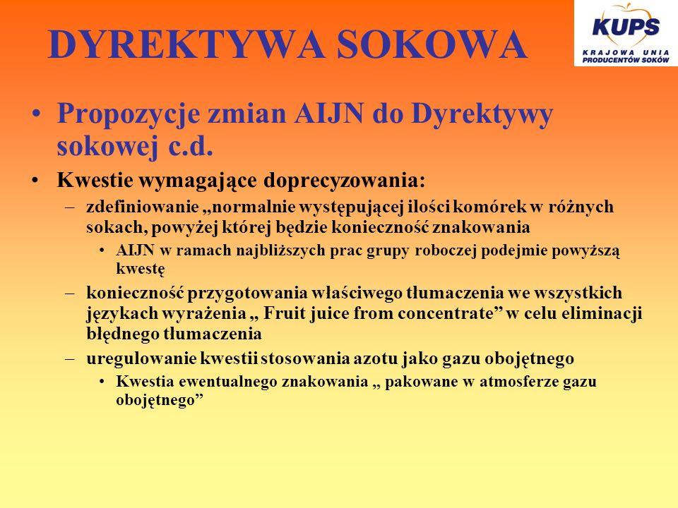 DYREKTYWA SOKOWA Propozycje zmian AIJN do Dyrektywy sokowej c.d. Kwestie wymagające doprecyzowania: –zdefiniowanie normalnie występującej ilości komór