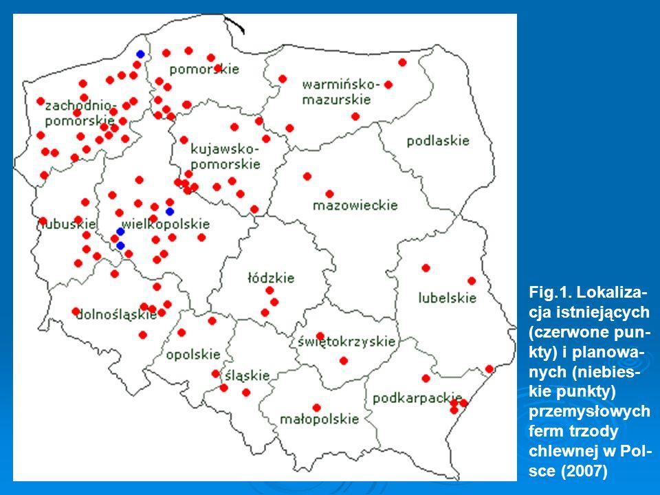 Fig.1. Lokaliza- cja istniejących (czerwone pun- kty) i planowa- nych (niebies- kie punkty) przemysłowych ferm trzody chlewnej w Pol- sce (2007)