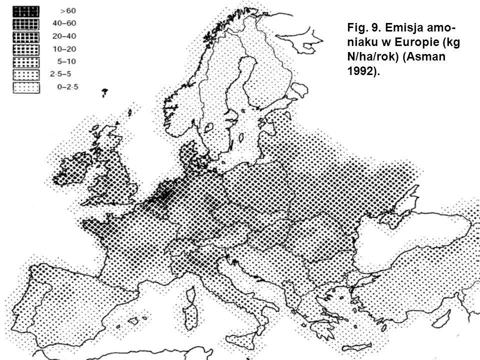 Fig. 9. Emisja amo- niaku w Europie (kg N/ha/rok) (Asman 1992).