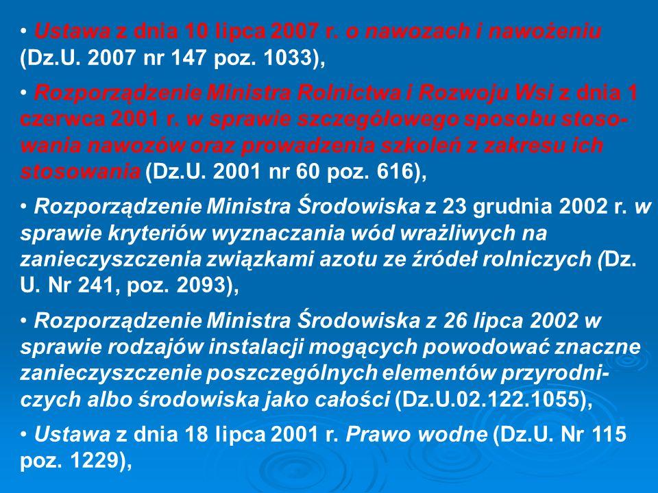 Ustawa z dnia 10 lipca 2007 r. o nawozach i nawożeniu (Dz.U. 2007 nr 147 poz. 1033), Rozporządzenie Ministra Rolnictwa i Rozwoju Wsi z dnia 1 czerwca