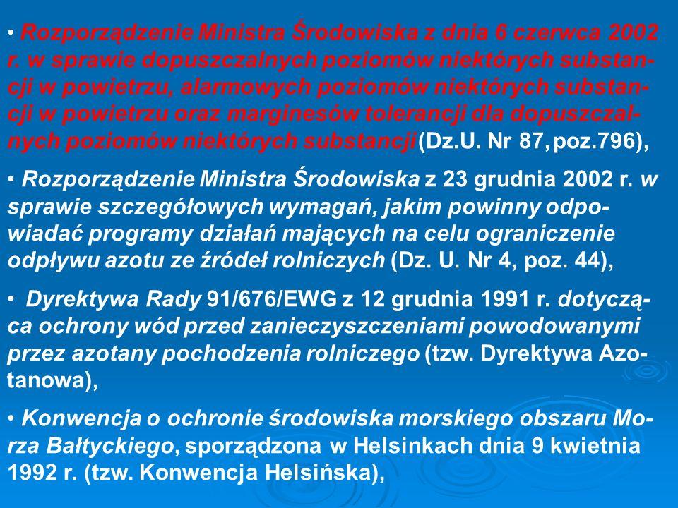 Rozporządzenie Ministra Środowiska z dnia 6 czerwca 2002 r. w sprawie dopuszczalnych poziomów niektórych substan- cji w powietrzu, alarmowych poziomów