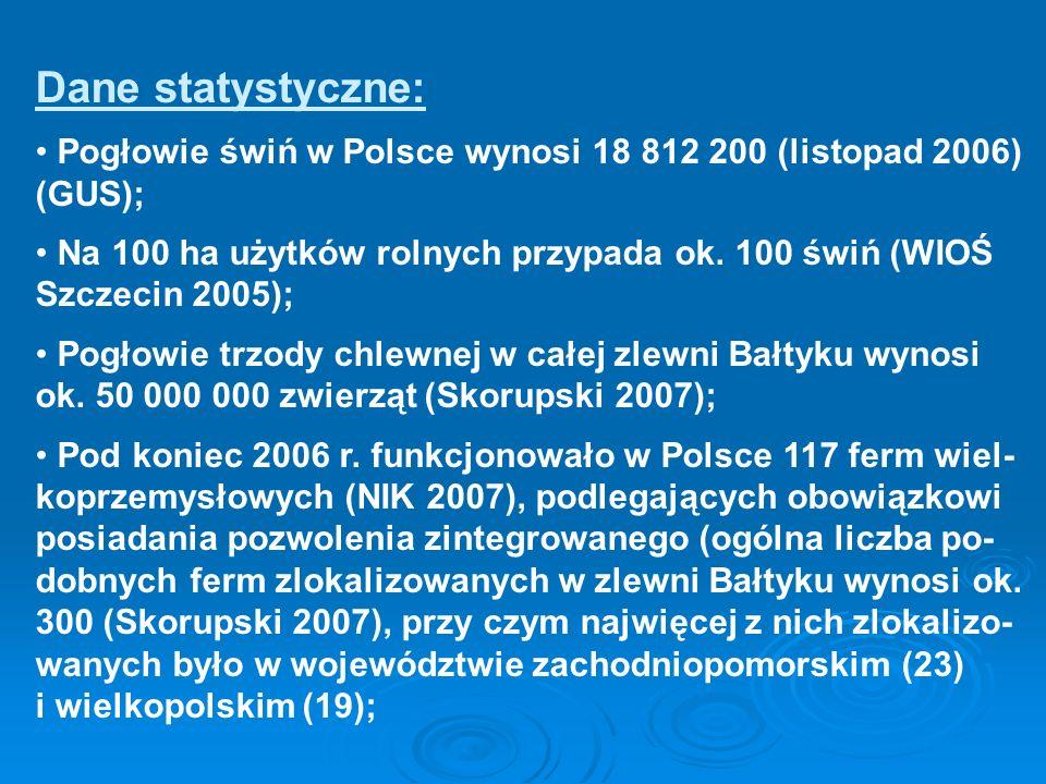 Dane statystyczne: Pogłowie świń w Polsce wynosi 18 812 200 (listopad 2006) (GUS); Na 100 ha użytków rolnych przypada ok. 100 świń (WIOŚ Szczecin 2005