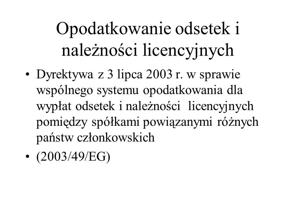 Opodatkowanie odsetek i należności licencyjnych zgodnie z dyrektywą Charakterystyka dyrektywy Implementacja dyrektywy
