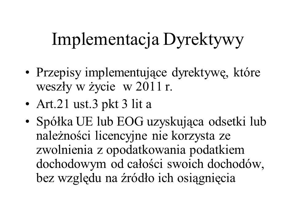 Implementacja Dyrektywy art.