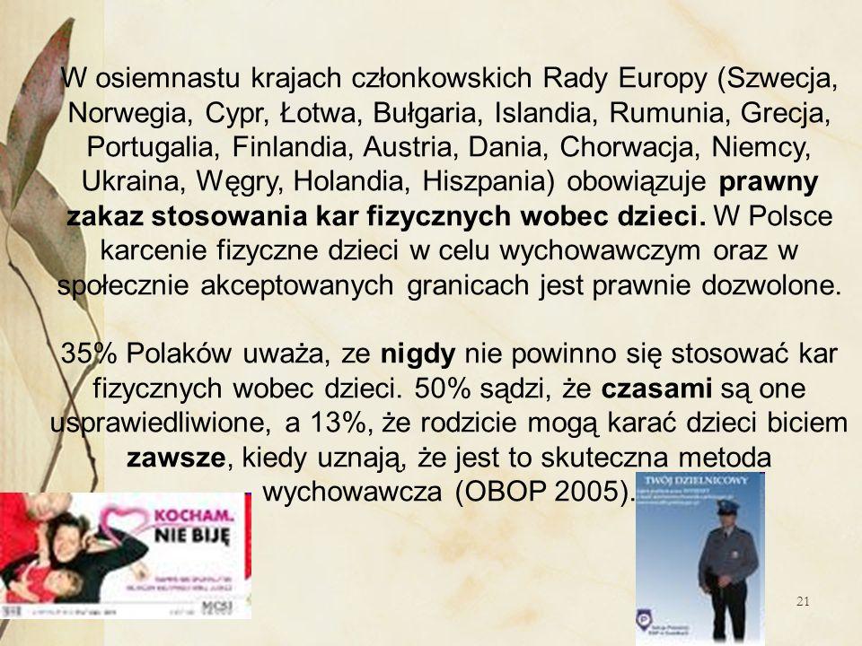 21 W osiemnastu krajach członkowskich Rady Europy (Szwecja, Norwegia, Cypr, Łotwa, Bułgaria, Islandia, Rumunia, Grecja, Portugalia, Finlandia, Austria