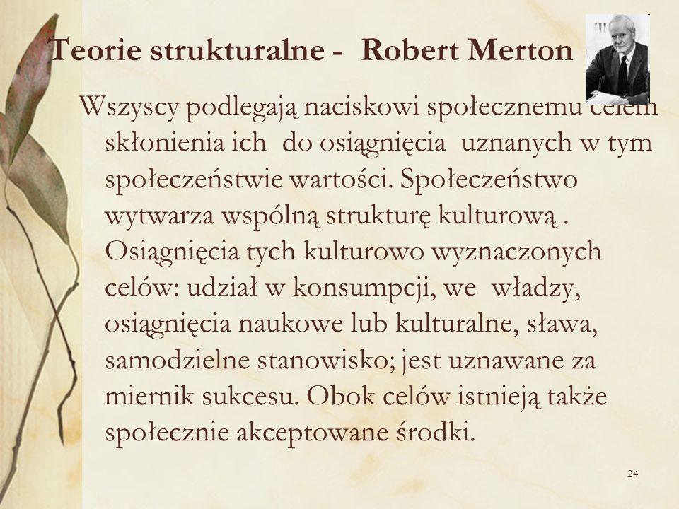 24 Teorie strukturalne - Robert Merton Wszyscy podlegają naciskowi społecznemu celem skłonienia ich do osiągnięcia uznanych w tym społeczeństwie warto