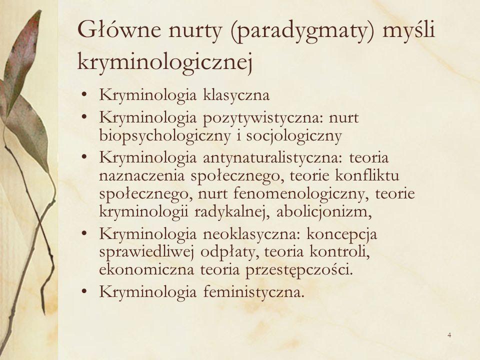 4 Główne nurty (paradygmaty) myśli kryminologicznej Kryminologia klasyczna Kryminologia pozytywistyczna: nurt biopsychologiczny i socjologiczny Krymin
