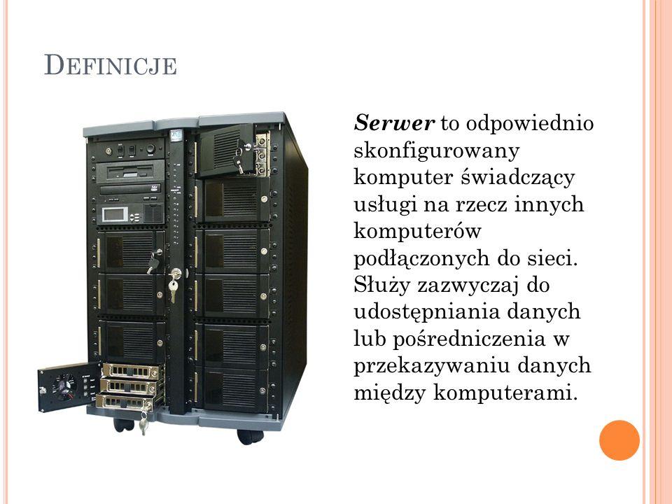 D EFINICJE Serwer to odpowiednio skonfigurowany komputer świadczący usługi na rzecz innych komputerów podłączonych do sieci. Służy zazwyczaj do udostę