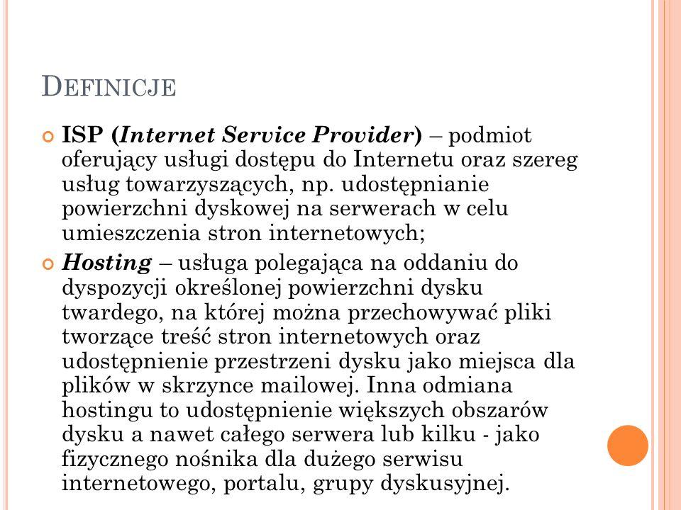 D EFINICJE ISP ( Internet Service Provider ) – podmiot oferujący usługi dostępu do Internetu oraz szereg usług towarzyszących, np. udostępnianie powie