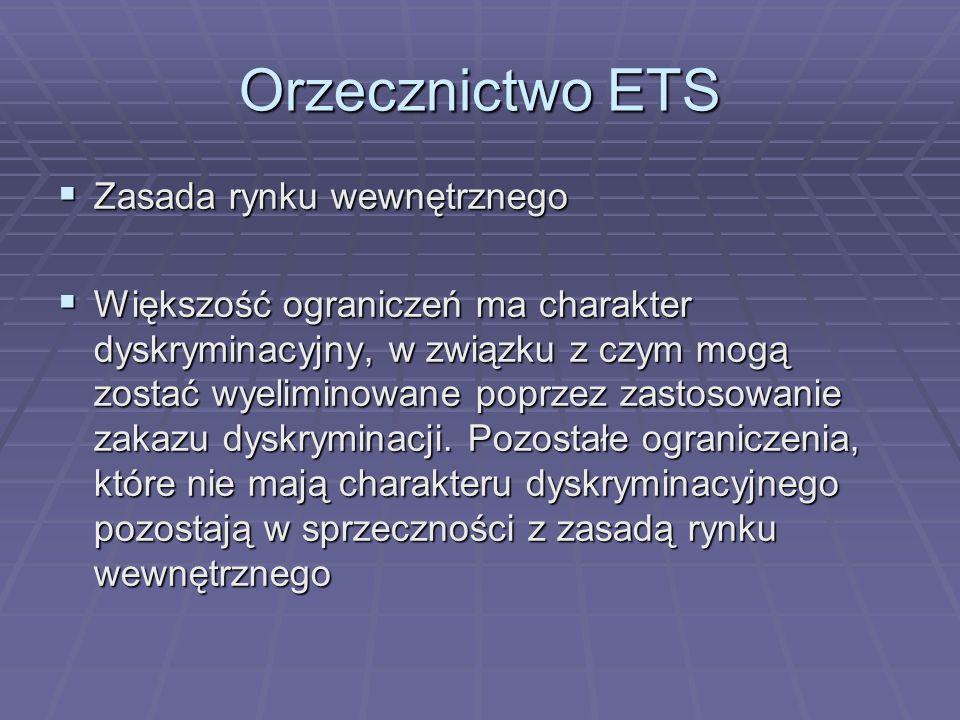 Orzecznictwo ETS Wymóg istnienia elementu transgranicznego Wymóg istnienia elementu transgranicznego Orzeczenie C-112/91 Werner Orzeczenie C-112/91 Werner Orzeczenie C-470/04 (N) Orzeczenie C-470/04 (N) Wprowadzenie obywatelstwa unijnego Wprowadzenie obywatelstwa unijnego Liberalizacja stanowiska ETS Liberalizacja stanowiska ETS